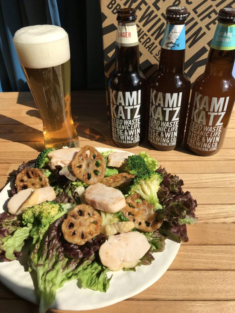 お取り寄せで上勝ビールの飲み比べ!阿波尾鶏のハムと徳島野菜づくしのサラダも一緒に。3