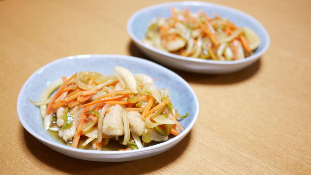 食感を楽しむ、徳島の春人参と鶏むね肉の南蛮漬け1